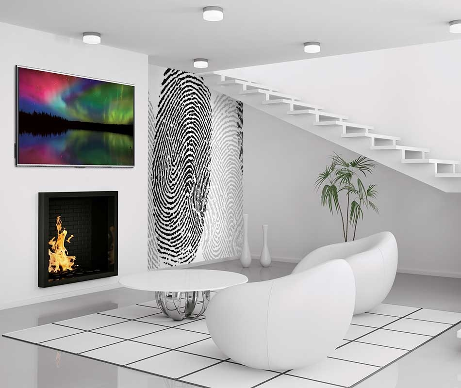 Modern white interior of living room 3d render